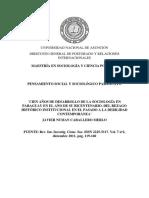 Cien Años de Desarrollo de La Sociología en Paraguay en El Año de Su Bicentenario. Del Rezago Histórico Institucional en El Pasado a La Debilidad Contemporánea
