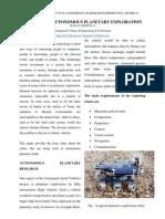 Robotics in Autonomous Planetary Exploration