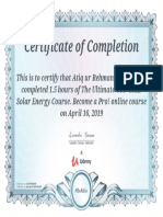 Certificate of OFF Grid Solar PV System