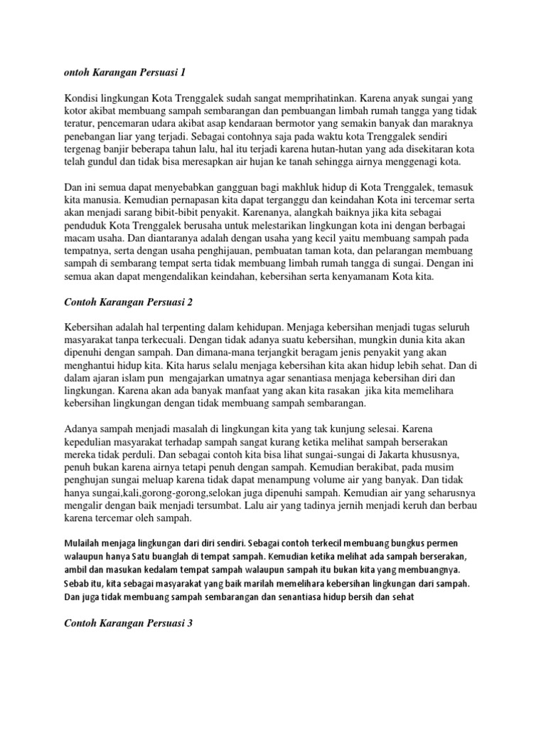 Contoh Teks Persuasi Dengan Tema Daur Ulang Sampah - Terkait Teks