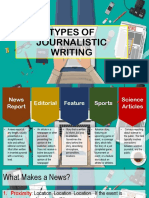 Types of Journalistic Writing