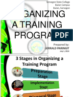 3 STAGES IN ORGANIZING A TRAINING PROGRAM