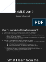 SeaMLS 2019 - Lessons Learned