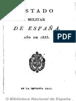 Estado Militar de España (Ed. en 16º). 1833