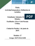 Álvarez Méndez _Salomon_M17 S1 AI2 Definición de Variables