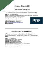 ISA Conference Calendar 2019