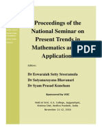 Proceedings of the National Seminar on Present Trends in Mathematics and Its Applications