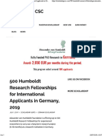 500 Humboldt Research Fellowships for International Applicants in Germany, 2019