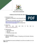 External Advert GRE 1-2019 Aptitude Schedule