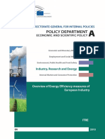 Overview of Energy Efficiency measures of European industry