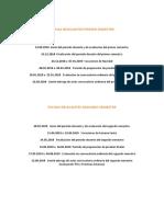 Fechas Relevantes Curso 2018-2019