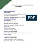 Obras Propuestas Para El Estudio de La Musica Andina Colombiana