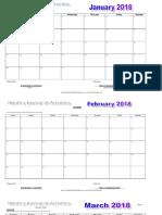2018 Calendar of Activities
