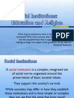 Social Institutions - Education and Religion