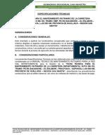 ESPECIFICACIONES TÉCNICAS MANTENIMIENTO PERIODICO