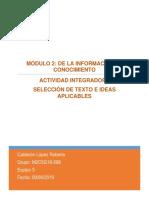 Actividad integradora 3 Selección de texto e ideas aplicables
