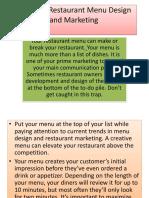 Trends in Restaurant Menu Design and Marketing