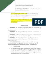 Memorandum of Agreement for Investment