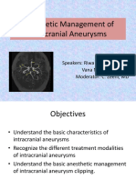 Anesthetic Management of Intracranial Aneurysms R-Masri