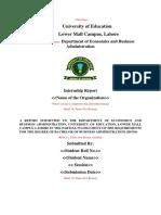 BBA (Hons) Internship Format