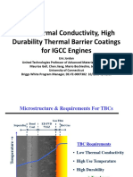 Low Thermal Conductivity, High Durability Thermal Barrier Coatings for IGCC Engines
