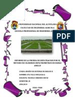 Informe de La Prueba de Infiltracion Por El Metodo de Cilindros Infiltrometros de Doble Anillo