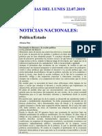 Noticias Del Lunes 22.07.2019