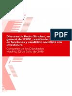 Discurso de Pedro Sánchez en la sesión de investidura