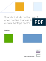Snapshot study on the use of open content licences in the UK cultural heritage sector