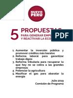 5 Propuestas del Nuevo Perú para generar empleo y reactivar la economía
