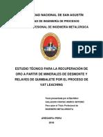 Estudio Técnico Para La Recuperación de Oro a Partir de Minerales de Desmonte y Relaves de Quimbalete Por El Proceso de Vat Leaching.