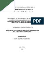 Tesis90 Diagnóstico Del Plan Curricular de La Escuela Académico Profesional de Obstetricia de La