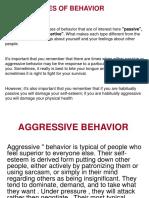 Understanding Behaviours