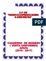 Caratula Cuaderno de Venta de Uniformes