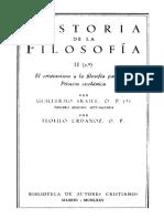 FRAILE, G. y URDANOZ, T., Historia de La Filosofia, Vol. II-1 (El Cristianismo y La Filosofia Patristica. Primera Escolastica), 1985