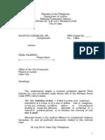 Complaint Affidavit Libel