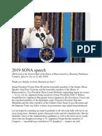 2019 SONA Speech