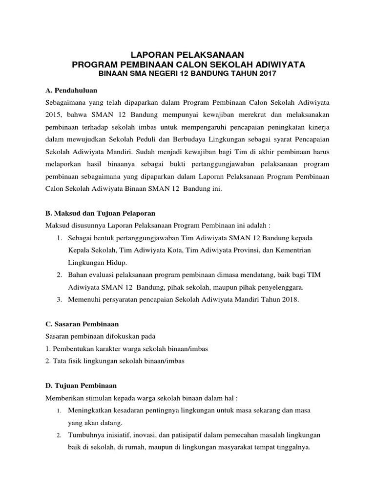Laporan Pelaksanaan Pembinaan Calon Sekolah Adiwiyata 2 Docx