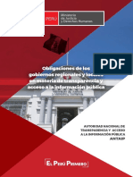 Obligaciones de Los Gobiernos Regionales y Locales en Materia de TAIP