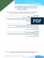 Conhecimento sobre gestão financeira dos dirigentes de pequenas empresas do Sul de Santa Catarina