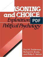 (Cambridge Studies in Public Opinion and Political Psychology) Paul M. Sniderman, Richard a. Brody, Phillip E. Tetlock - Reasoning and Choice_ Explorations in Political Psychology -Cambridge Universit