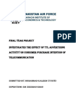 """Investigates the effect of TTL advertising  activity on consumer purchase intention of  telecommunication"""""""