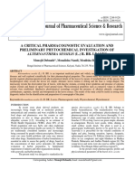 A CRITICAL PHARMACOGNOSTIC EVALUATION AND PRELIMINARY PHYTOCHEMICAL INVESTIGATION OF ALTERNANTHERA SESSILIS (L.) R. BR. LEAVES