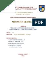Clsificacion Geomecanica RMR y Correccion Laubscher and Taylor