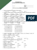 2nd Test Question - MATH 9