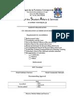 Organization Accreditation Sheet