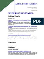 Noticias Del Viernes 01.02.2019