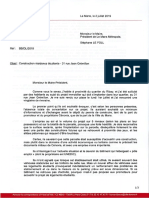 Lettre de B.Breux sur le projet de résidence étudiante au Ribay