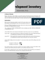 Child Development Inventory Score