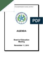 HISD November Board of Education Agenda